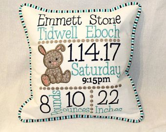 Custom Birth Announcement Pillow - Embroidered with babys birth information with a Navy and Lime color scheme.  This custom birth announcement pillow is embroidered with babys information and measures approximately 12 x 12. This pillow will be embroidered with navy and lime thread on a white background. A little airplane will also be appliqued on the pillow. The pillow includes navy dot welt cording around the outside edge. The back of the pillow has a covered zipper with the navy dot fabric…
