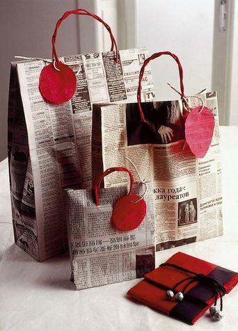 Fare pacchetti carta di giornale: decorazioni fai da te