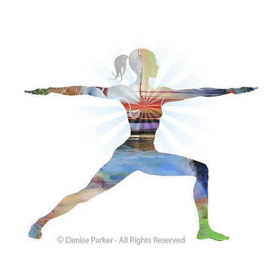 Yoga Art Warrior Pose Two  Large Yoga Wall Art Yoga by YogaColors