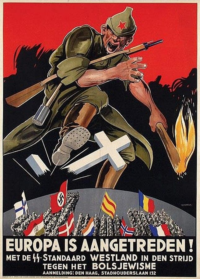 """Dutch Waffen SS poster: """"Europa is Aangetreden"""" or """"Europe is Moving Forward"""". This poster is designed to attract recruits to fight the Communists and specifically made with text for the Waffen-SS Standart """"Westland"""". The Westland Regiment was attached to the 5. SS Panzer Division """"Wiking"""" for the duration of the war. #Festung_Europa"""
