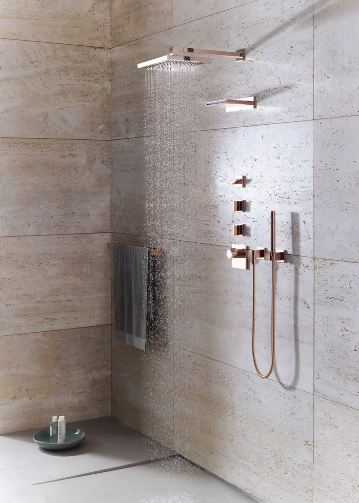 With an on trend, opulent #rosegoldshower like this who cares about clothes? #luxurybathroom #homeenvy .  Designers Choice : Dornbracht MEM tap ware | Taylor Howes