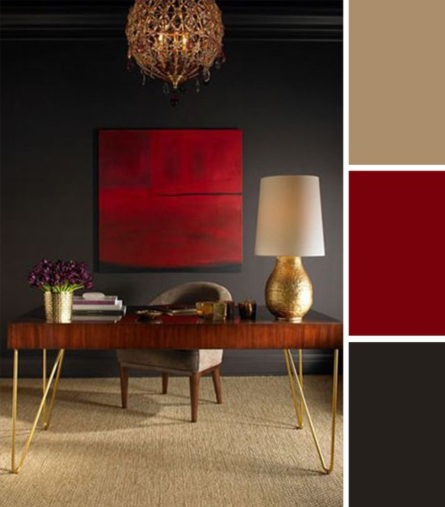 10 Colorful Workspaces to Inspire Your Home Office: Red and Gold.