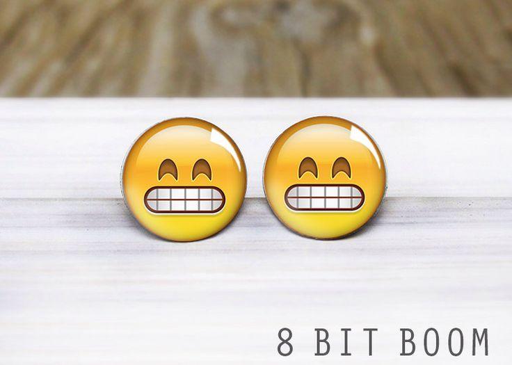 Clenched Teeth Emoji Stud Earrings- Hypoallergenic Earrings for Sensitive Ears by 8BitBoom on Etsy https://www.etsy.com/listing/230474256/clenched-teeth-emoji-stud-earrings