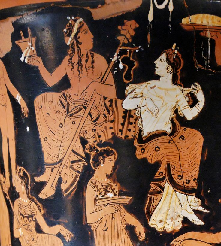 Dionysos and Ariadne. Detail from the side A of an Attic red-figure calyx-krater, ca. 400-375 BC. From Thebes.