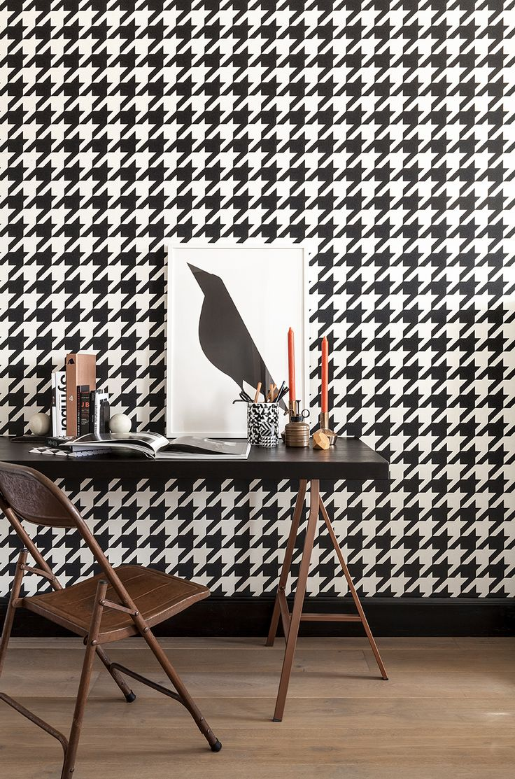 wallpaper for office wall. Black And White Large Scale Houndstooth Wallpaper For A Timeless Feature In Your Home Office Or Hallway. Wall T