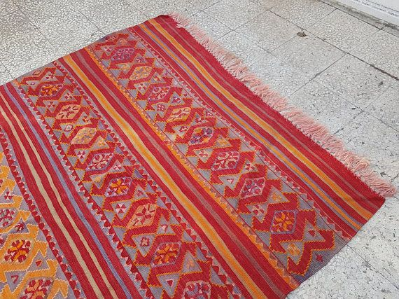 Embroidered Traditional Kilim Rug Vintage Turkish ORANGE