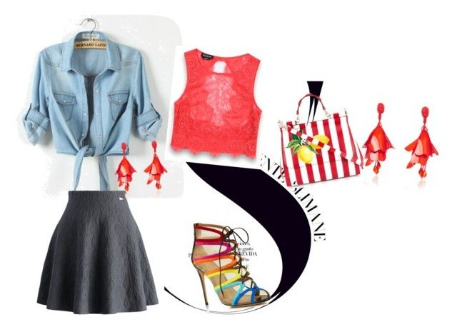 """Spring Red Casual coordinate"" by ambrielm on Polyvore featuring Salvatore Ferragamo, Chicwish, Bebe, Oscar de la Renta and Dolce&Gabbana"