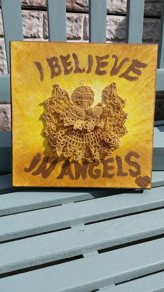 I Believe in Angels unusual oil painting featuring by KraziCrochet
