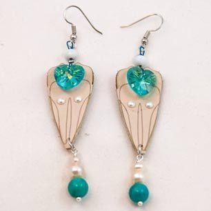 Heart Petal Earrings #leather #lasercut #laserengrave #swarovski #crystals #turquoise #pearls