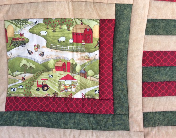 Country Farm Quilt, Farmer Quilt, Harvester Quilt, Chicken Quilt, Pig Blanket, Cow Quilt, Tractor Quilt, Farmers Market, Red Barn, Farm by 2chicksaquilting on Etsy