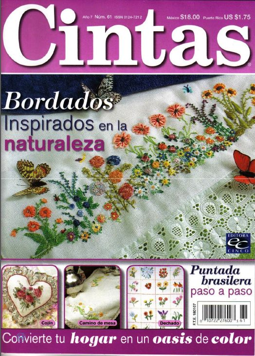 Revistas de manualidades Gratis: Como bordar flores con listón