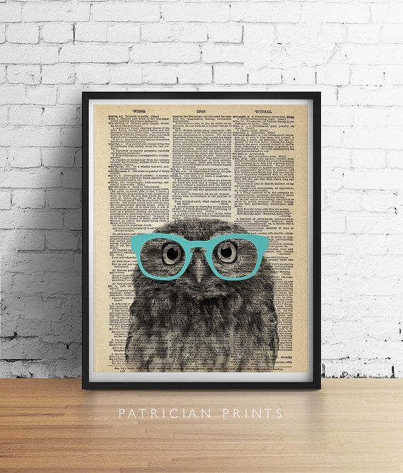 PRINTABLE Art OWL Wearing Glasses Print Cute by PatricianPrints