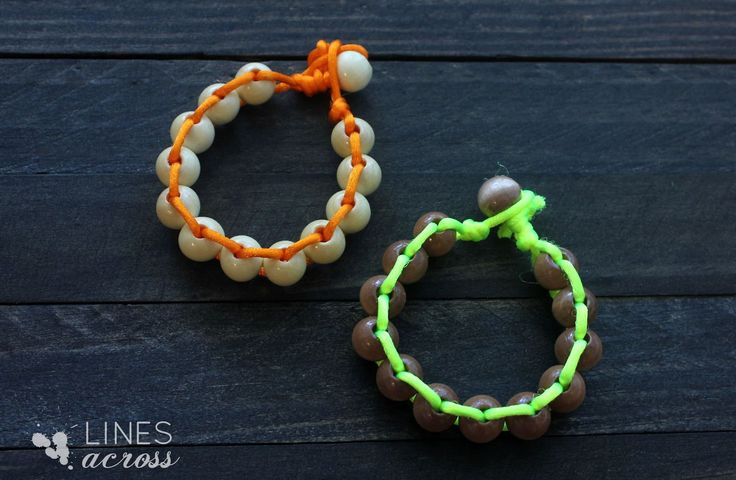 Lines Across: Neon and Wood Floating Bead Bracelet