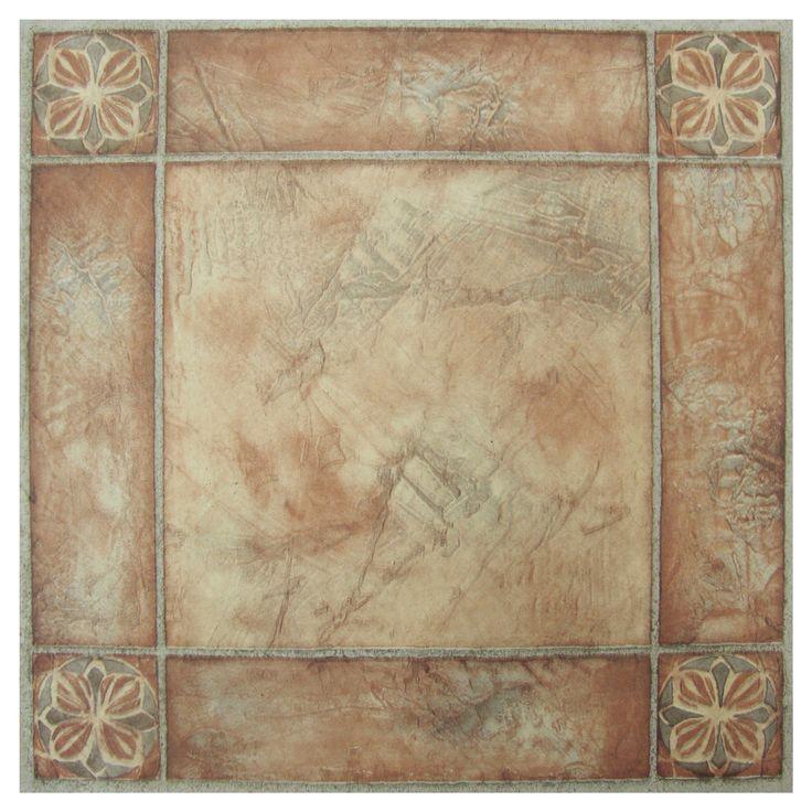 """Beige/Brown Self Adhesive Vinyl Floor Tile - (12""""x12"""") - Achim"""