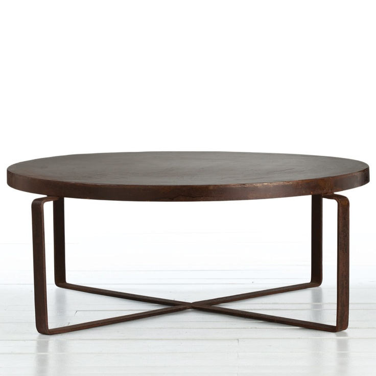 Arteriors Trayton Iron Coffee Table In Rustic Copper Finish