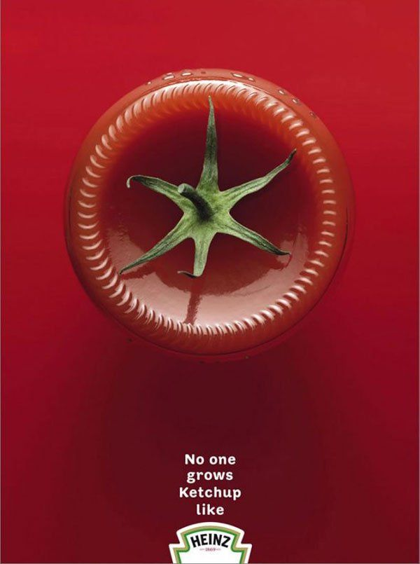 "Image and Type-Kylie Storts: This is an advertisement for Heinz ketchup. I love the way they created the ""tomato"" out of a ketchup bottle flipped upside down. The minimal text just to put in their slogan works very well."
