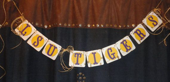 LSU Tigers Football Party Banner Gold & by PaperBlissByNancy, $8.50