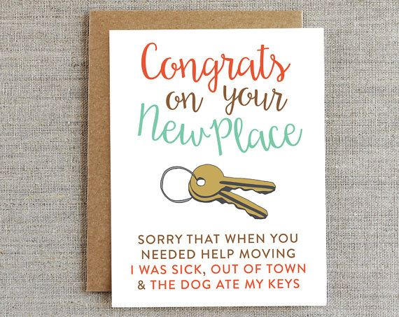 Funny Moving Card New Home Card Housewarming by rhubarbpaperco