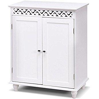 tangkula floor cabinet white wooden free standing bathroom 2 shelves rh pinterest com