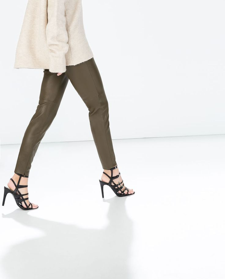 Image 3 of FAUX LEATHER LEGGINGS WITH SEAM AT THE KNEE from Zara