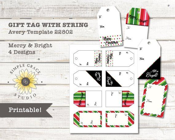 Merry Bright Christmas Gift Tags With String Avery Template