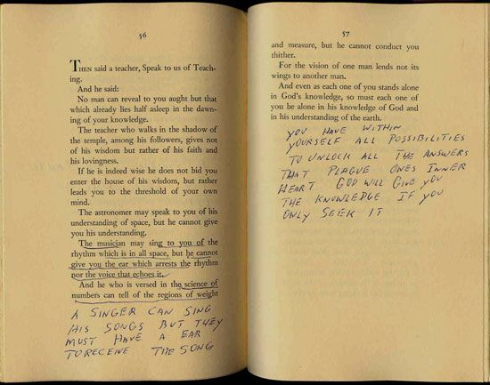 Elvis - Handwriting Quote from his copy of The Prophet by Kahlil Gibran