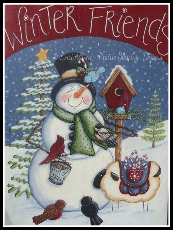 Snowman and birds Winter Friends is a delightful scene depicting a snowman and sheep visiting with some sweet little birds and giving them a