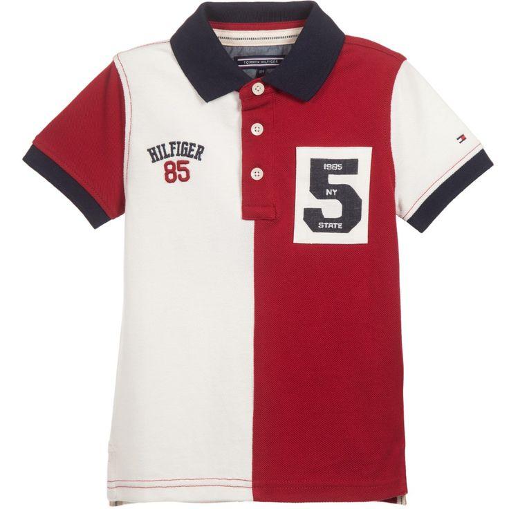 Boys White & Red Cotton Piqué Polo Shirt, Tommy Hilfiger, Boy