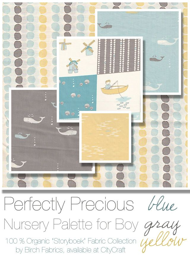 Perfectly Precious. Nursery palette for boy featuring Storyboek fabric collection from Birch Fabrics, available at CityCraft.