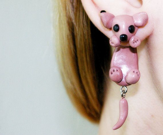 Chihuahua front back earrings, dog clinging earrings, animal fake gauge, cute fake plug, two part earrings, fake piercing, fake tunnels on Etsy, $16.00