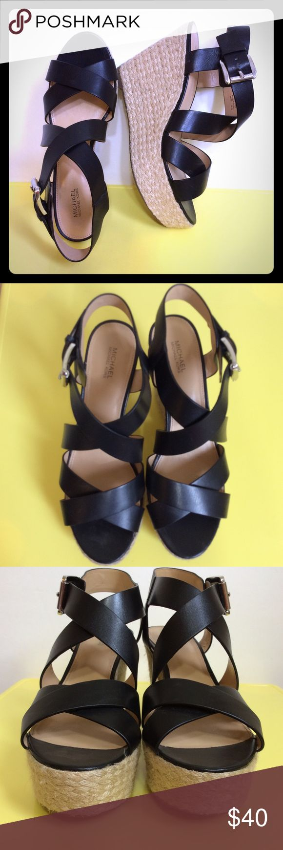 "Michael Kors Black Espadrille Wedge Shoes Size 9M In great condition. 4.5"" Heels. Silver hardware. Leather upper and rubber outsole. MICHAEL Michael Kors Shoes Wedges"
