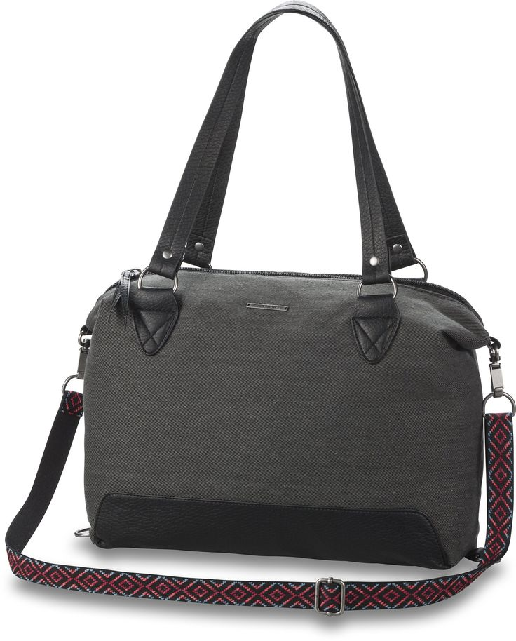 Dakine Wanda Shoulder Bag, Dusk, 13 L. Top zippered closure and interior zippered pocket. Vinyl trims and shoulder straps. Vinyl adjustable and removable cross body shoulder strap. Metal logo badge and hardware. Sides clip down when used as a shoulder bag.