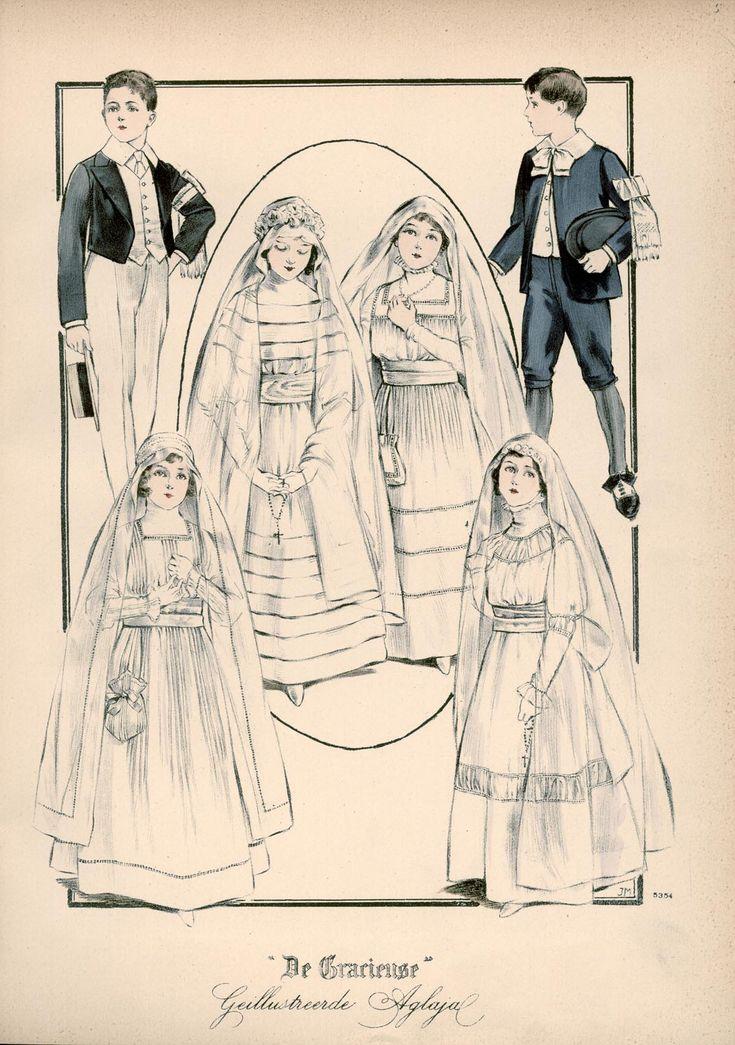 [De Gracieuse] No. 1. Etonkostuum voor de communie. No. 2. Communiejurk van Zwitsersche mousseline. No. 3. Communiejurk. No. 4. Communiejurk. No. 5. Communiejurk van fijne mousseline. No. 6. Aanneemkostuum van fijne serge met een wit vest (March 1916)