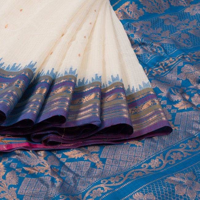 Ghanshyam Sarode White Handwoven Gadwal Kuttu Cotton Saree with Temple Border 10007412 - AVISHYA