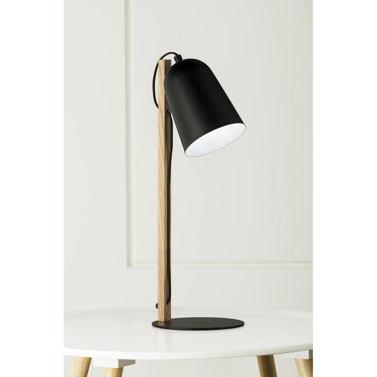 """Mayfield Lamps; """"Suitsy"""". Contemporary design with a strong emphasis on line and form. Scandinavian ash timber and satin black lampshade."""