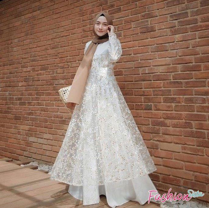 Model Baju Kebaya Brokat Modern Terbaru Hijab Warna Putih Di 2020