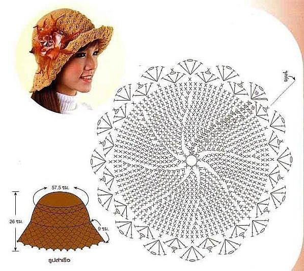 Tan Hat free crochet graph pattern