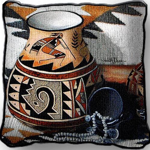 "Southwestern Tapestry Kokopelli Pottery Pillow 17"" x 17"" #southwestern #decorating"