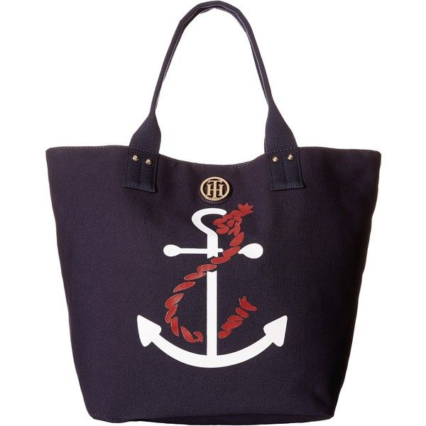 Tommy Hilfiger Ali - Anchor Printed Canvas Shopper (Navy) Tote... ($28) ❤ liked on Polyvore featuring bags, handbags, tote bags, navy, tommy hilfiger handbags, canvas shopping bag, handbags totes, canvas tote and navy canvas tote