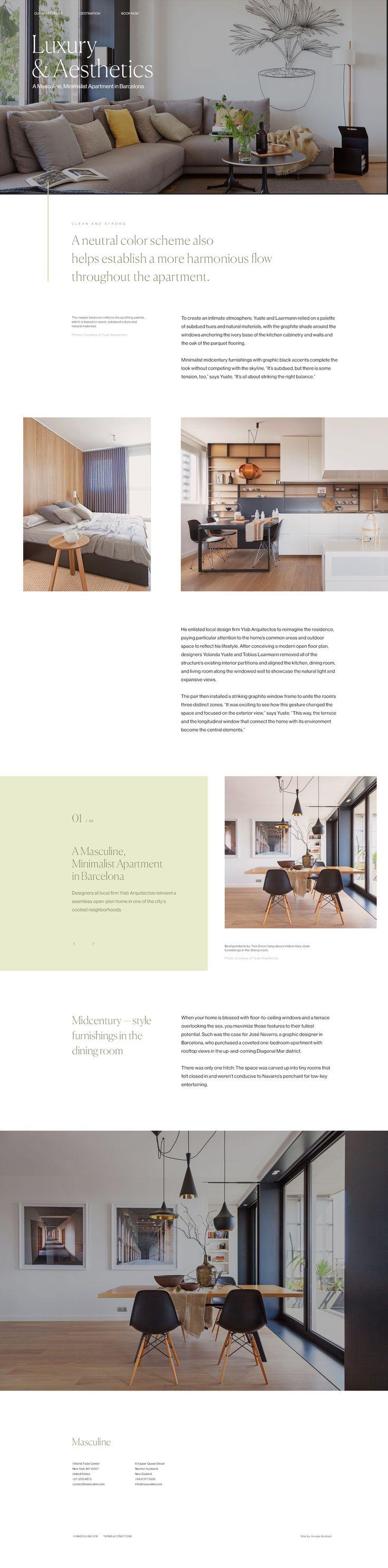 Modern apartment landing page minimal typography ui