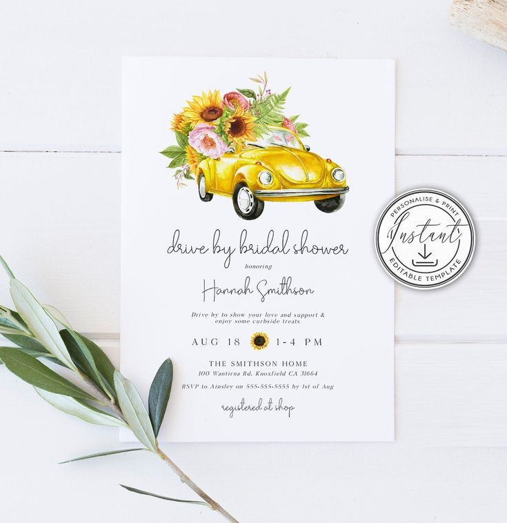 Drive by bridal shower editable invitation template drive