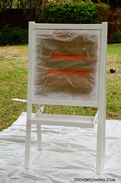 IKEA Chalkboard Hack - Need to do this!  We've had ours for years and the wood has paint/marker/etc. all over it and looks terrible.