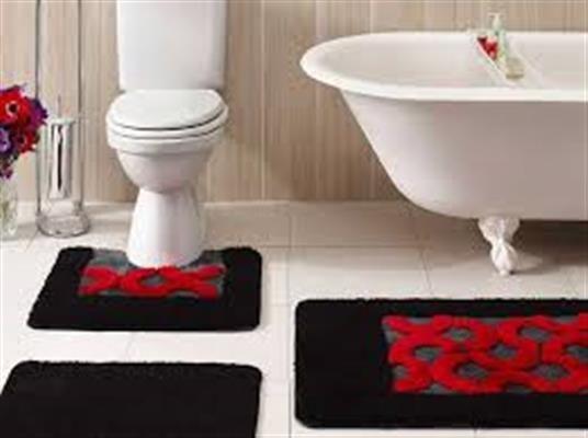 Taç Diva 3'lü Banyo Paspas Seti Kırmızı   cazip geldi
