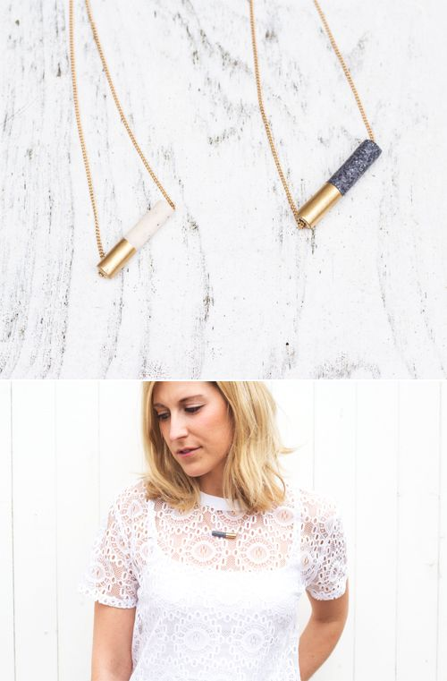 Tube Bead Necklace | The Lovely Drawer Whilst picking up some more Fimo to make a couple more marbelised bowls (guess what all my friends are getting for Christmas!?) I came across Fimo Effects, which come in granite and marble, so I grabbed a couple...