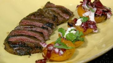 Michael Symon/'s Skirt Steak with Grilled Apricots, Mint and Feta