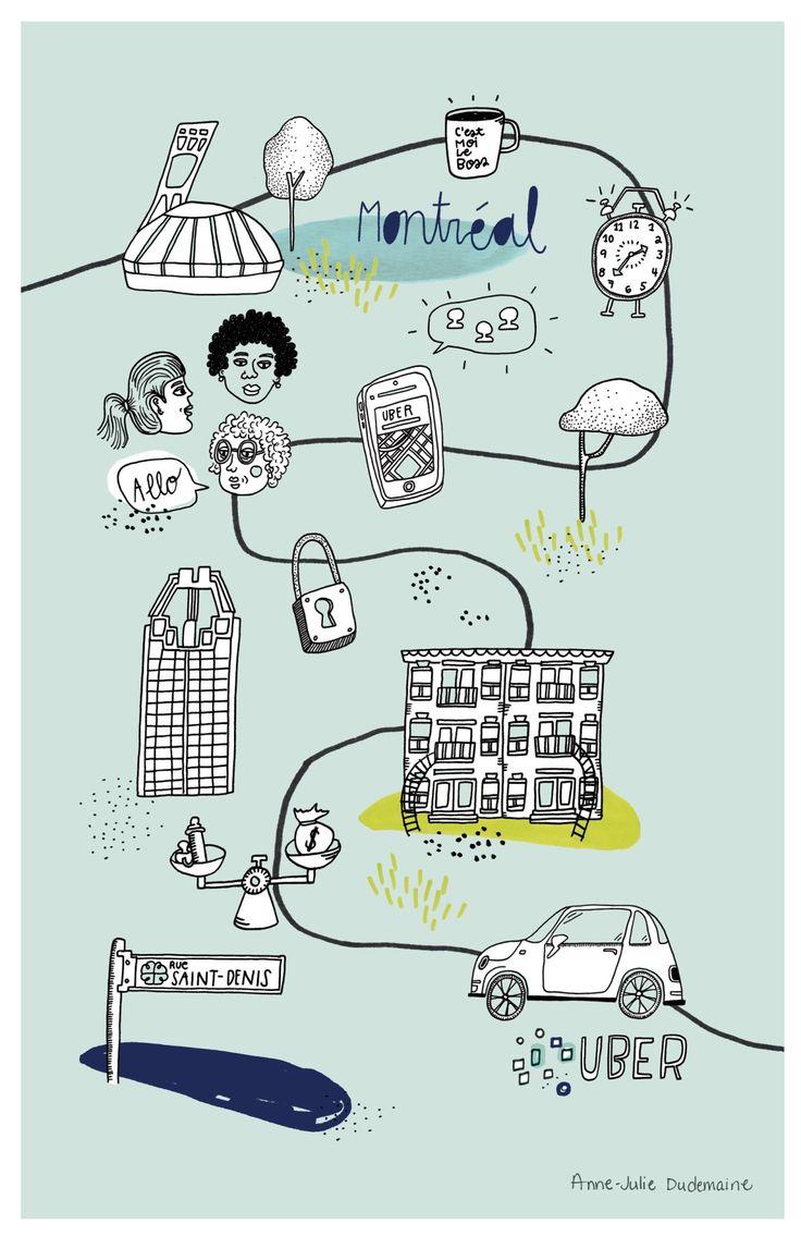 Uber Montréal // Anne-Julie Dudemaine // Illustration