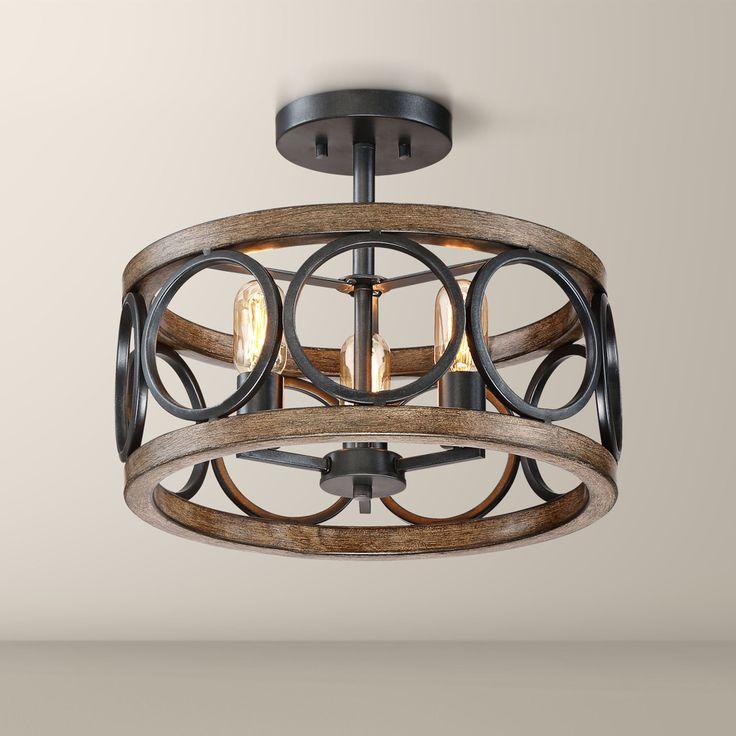 3 light franklin iron works rustic farmhouse ceiling light