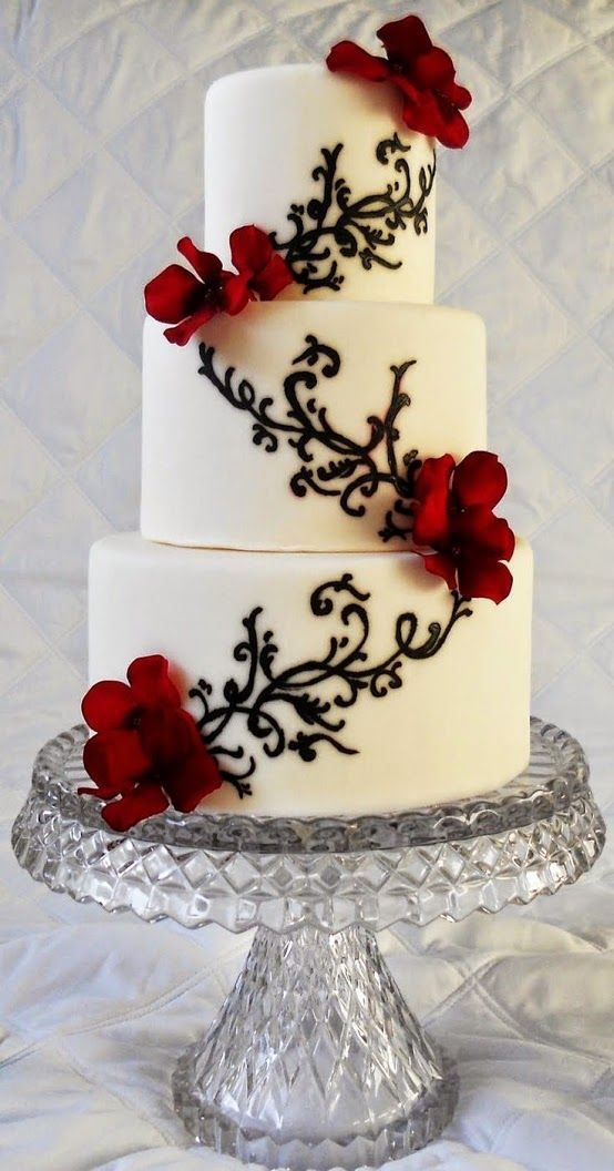 wedding cake red and white black and