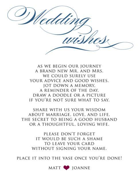 wedding wish cards template