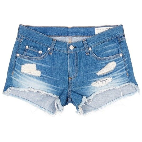 Rag & bone/JEAN 'Cut Off' distressed denim shorts (€145) ❤ liked on Polyvore featuring shorts, blue, ripped jean shorts, destroyed denim shorts, cut-off shorts, distressed shorts and blue shorts